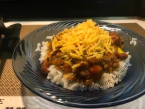 One pot dinner with beef chili